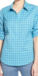 Vineyard Vines Popover green/blue gingham shirt